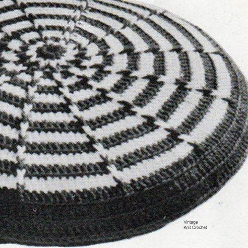 Round Striped Crochet Pillow Pattern, Vintage 1950s
