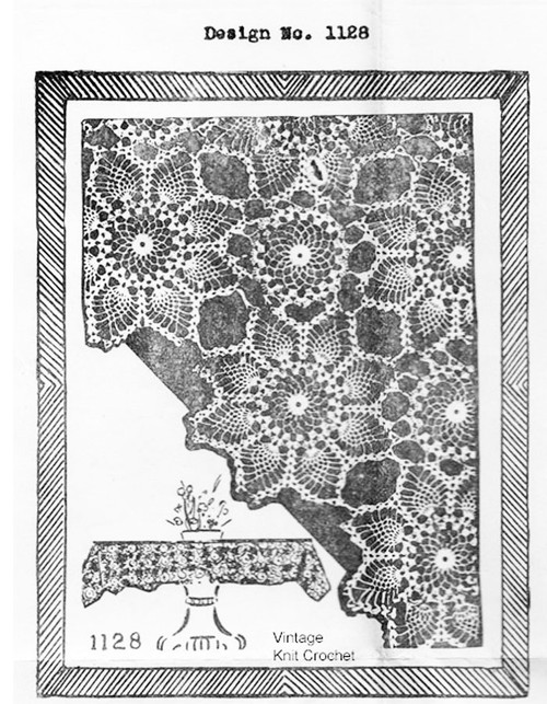 Crochet Tablecloth pattern, Pineapple medallions, Mail Order 1128