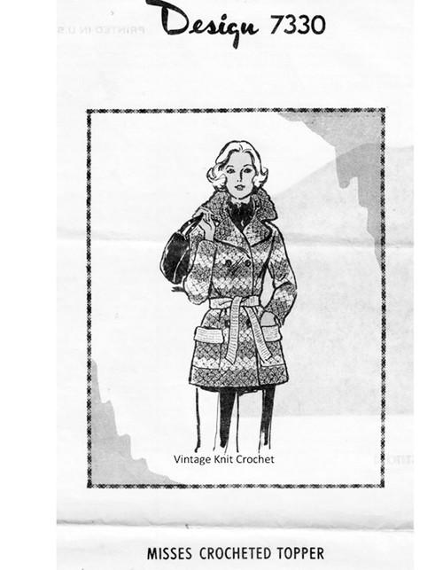 Crochet Coat Pattern, Striped, Mail Order Design 7330