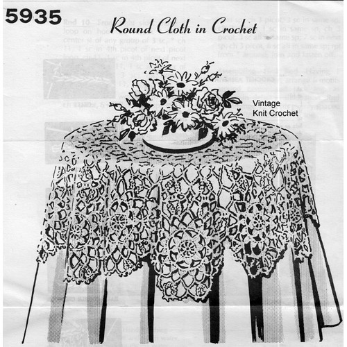 Design 5935, Crochet round tablecloth pattern