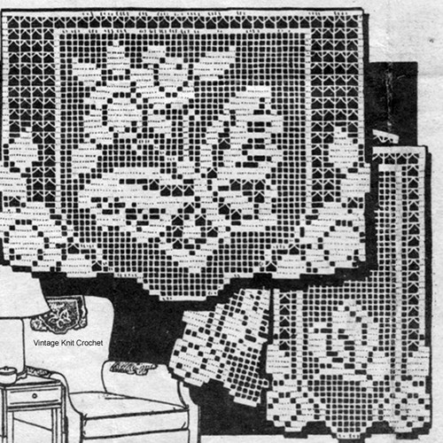Filet Crochet Butterfly Roses Pattern No 3558