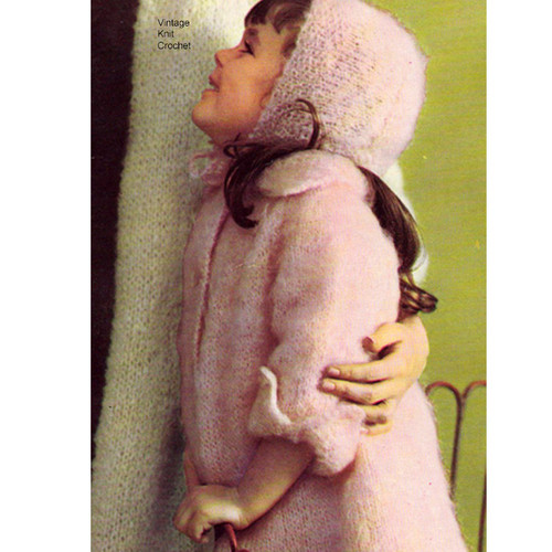 Vintage Childs Mohair Knitted Coat Pattern Style 5055-118