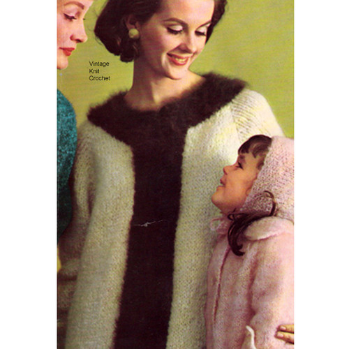 Knee Length Knitted Coat Pattern in Mohair Angora Yarn