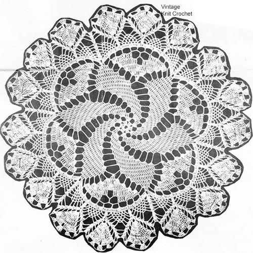 Vintage Pinwheel Crochet Doily Pattern, Shell Border, Mail Order 1238