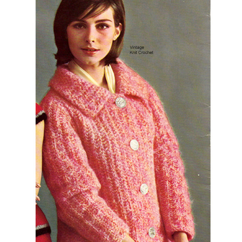 Bernat Mohair Plus Coat Pattern Style 1758-118