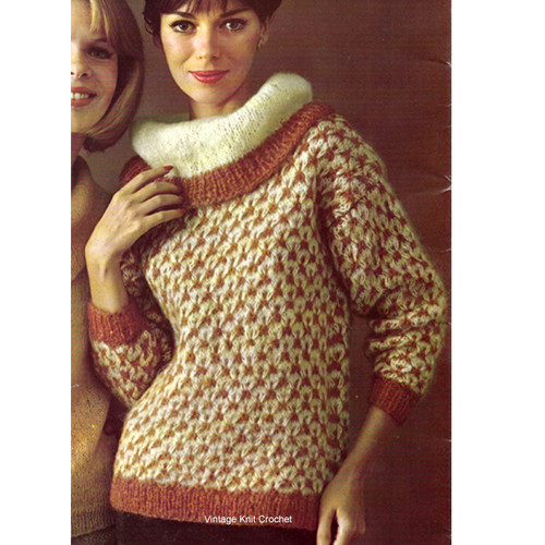 Large Cowl Neck Pullover Sweater Knitting Pattern