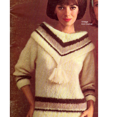 Long Sleeve Mohair Sweater Knitting Pattern from Bernat
