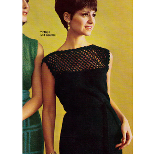 Knitted Mohair Dress Pattern with Openwork Yoke