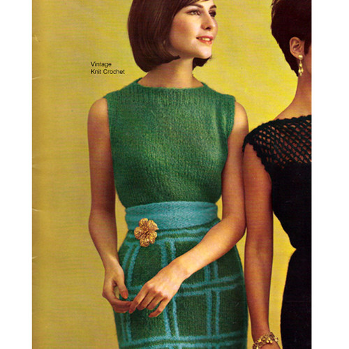 Vintage Mohair Knitted Maxi Dress Pattern in Mohairlaine