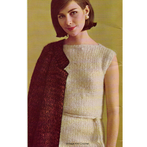 Straight sleeveless Dress Knitting pattern in mohair