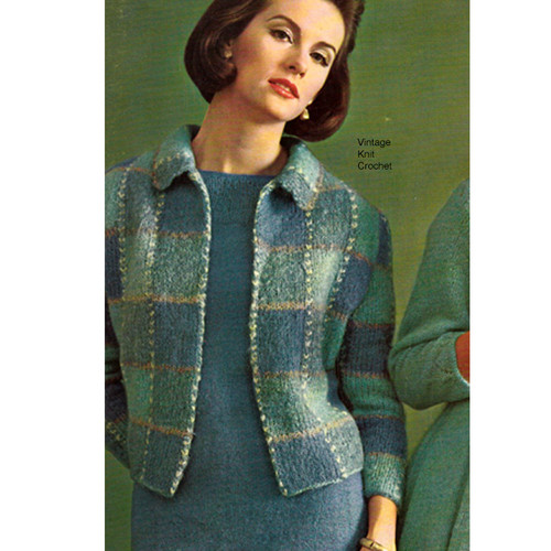 Color Block Knit Mohair Jacket Pattern