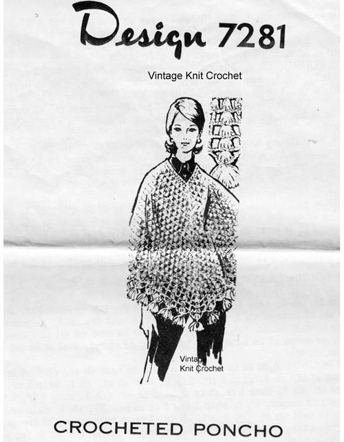Crochet Mesh Poncho Pattern, Design 7281