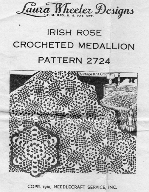 Irish Rose Crochet Bedspread Pattern, Laura Wheeler 2724