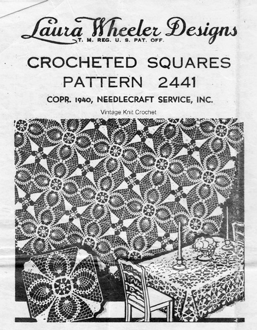 Crochet Medallion Tablecloth Pattern, Mail Order Design 2441