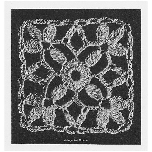 No 7743, Crocheted Flower Medallion Illustration