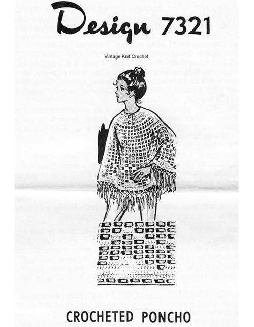 Fringed Poncho Crochet Pattern, Design 7321