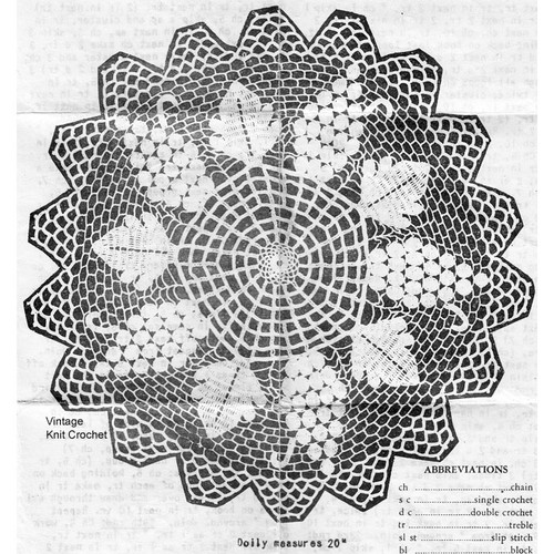 Large Grape Doily Pattern, Anne Cabot 5384
