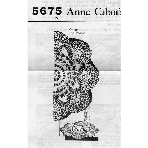Anne Cabot 5675, Fan Doily Crochet Pattern
