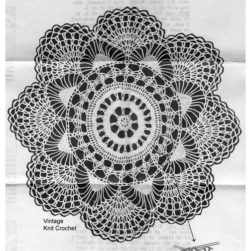 Vintage Fan Doily Crochet Pattern No 5675