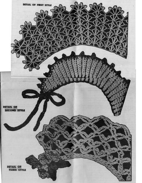 Three Crochet Collars Pattern Illustrations