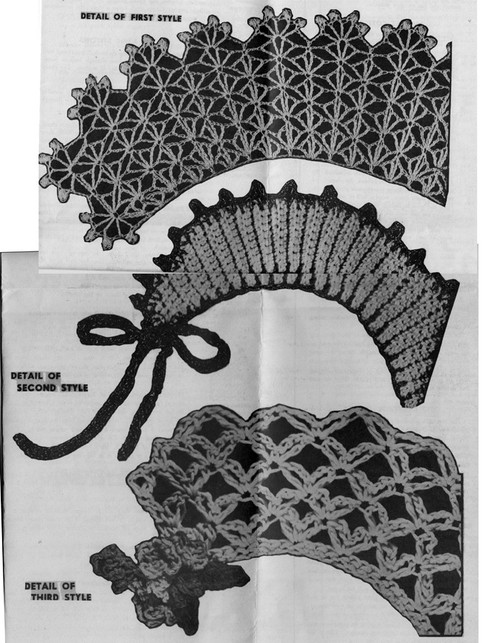 Three Crochet Collars Pattern Illustrations