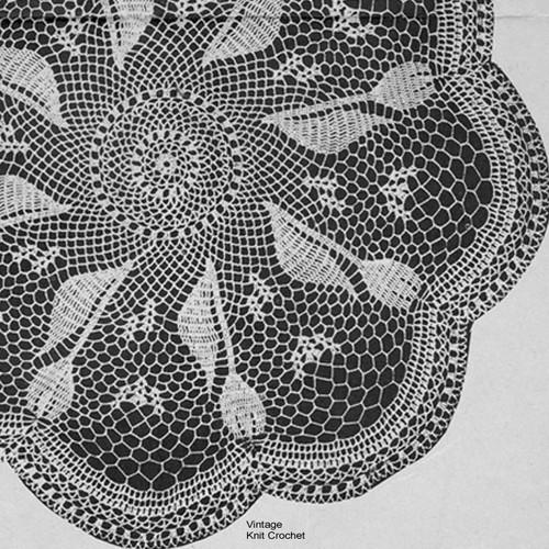 Vintage Tulip Crochet Doily pattern No 1133