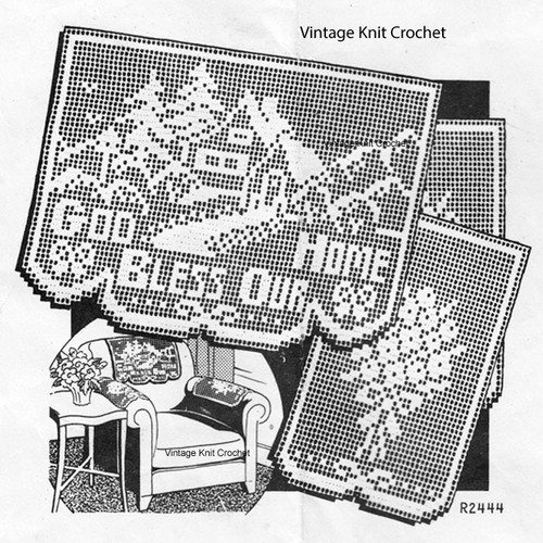 Vintage God Bless our Home Filet Crochet Pattern, Anne Cabot 2444
