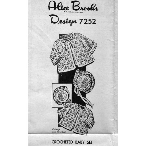 Crochet Mail Order Baby Set Pattern No 7252
