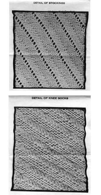 Knitted Socks Pattern Stitch Illustration