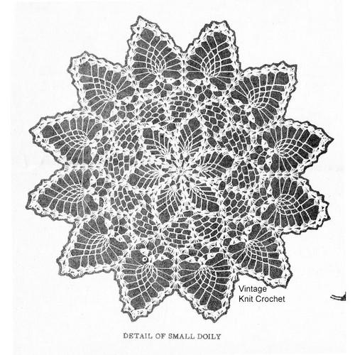 Small crochet pineapple scallop doily pattern Design 7054