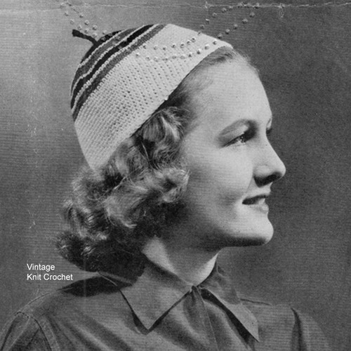 Easy crochet cap pattern, vintage 1937