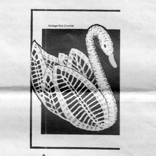 Vintage Swan Centerpiece Crochet Pattern No 7384