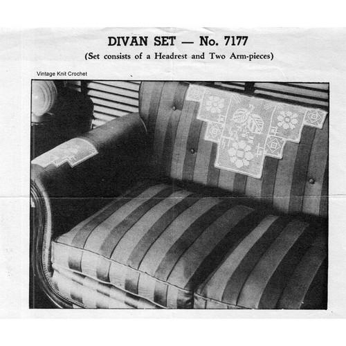 Vintage Filet Crocheted Divan Pattern set in flower motif; vintage 1940