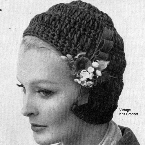 Easy Crocheted Helmet Pattern, Vintage 1950