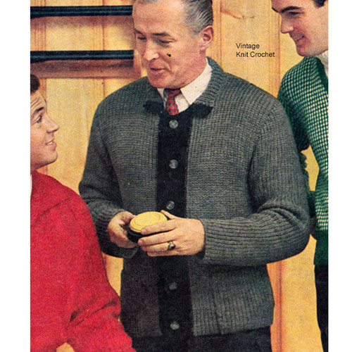 Vintage Knitted Mans Ribbed Cardigan Pattern