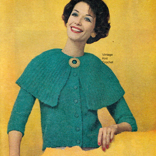Knitting Pattern Large Cardigan Pattern, Vintage 1950s