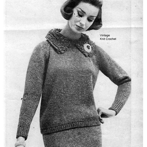 Knitted Two Piece Dress Pattern, Poodle Collar