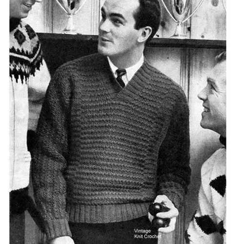 Vintage Mans Knitted Pullover Pattern in Rib Stitch