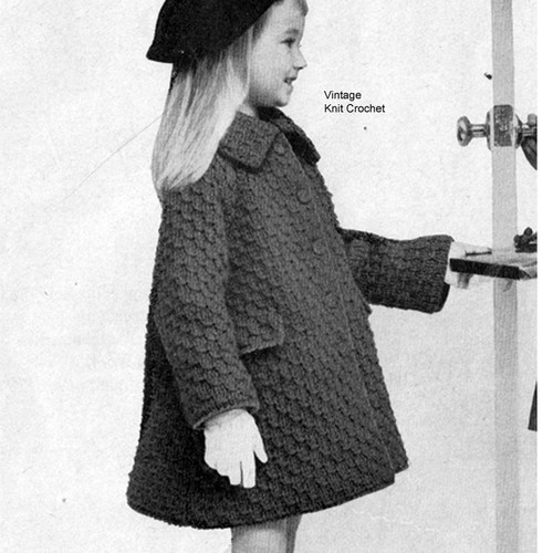 Girls Big Needle Knitted Coat Pattern