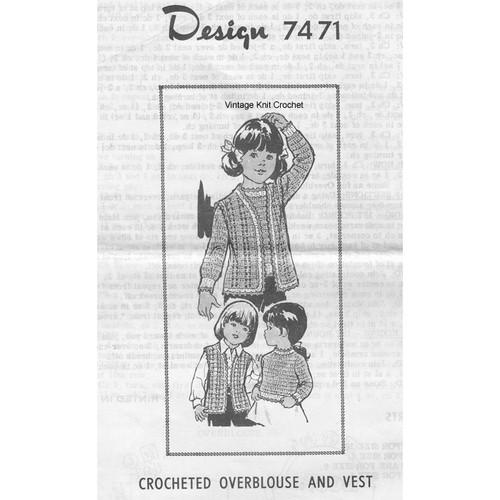 Childs Crochet Pullover & Vest Pattern, Mail Order 7471