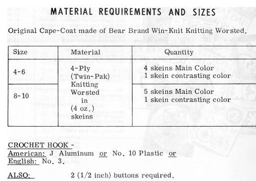 Childs Crocheted Cape Coat Pattern Alice Brooks 7497