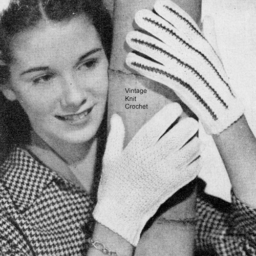 Crochet Striped Gloves Pattern in Pearl Cotton