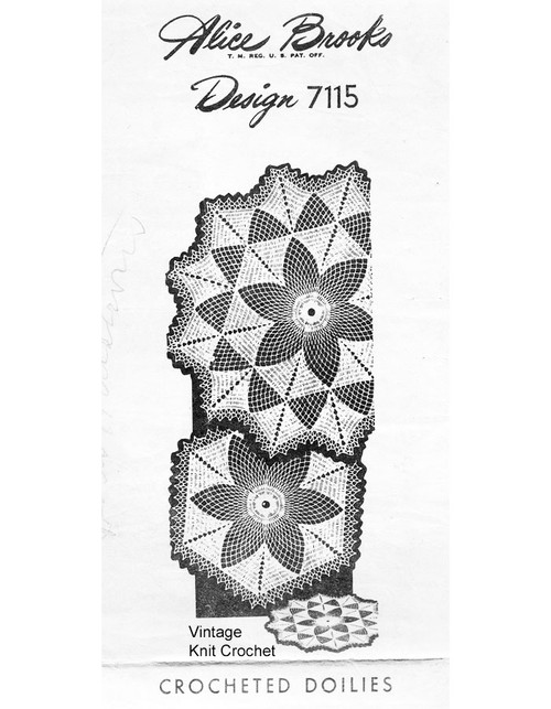 Crochet Star Doilies Pattern, Large Small, Design 7115
