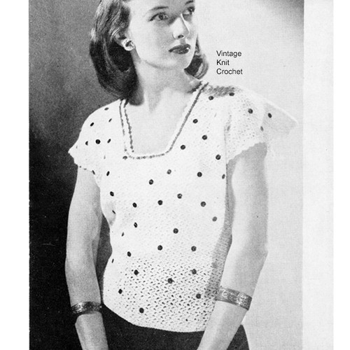 Vintage Crochet Polka Dot Blouse pattern