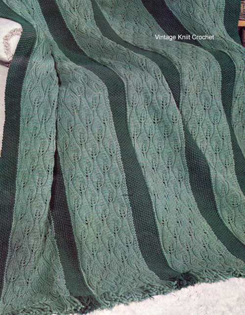 Knitted Leaf Motif Afghan Pattern, Evergreen