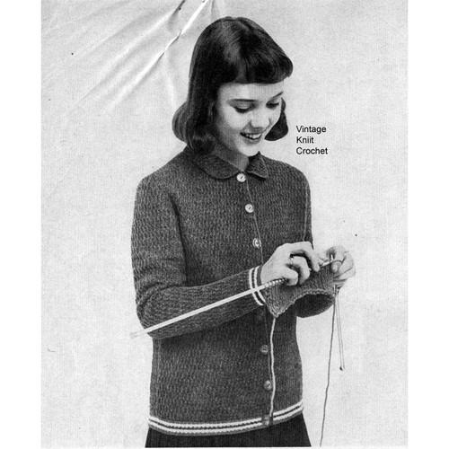 Girls crocheted cardigan pattern with striped trim