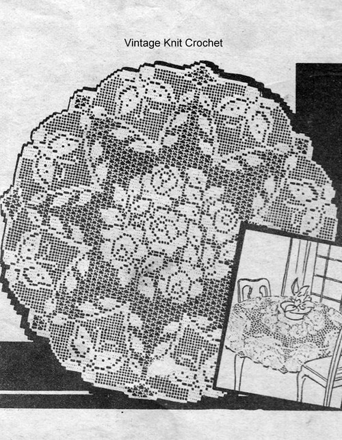 Rose Filet Crochet Round Cloth Pattern No 3492