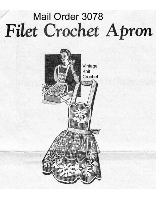 Vintage Filet Crochet Apron pattern in Flower motif
