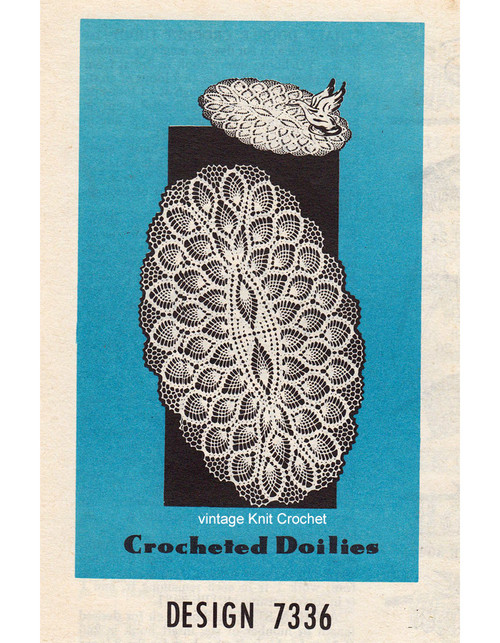 Oval Pineapple Crochet Doily Pattern, Mail Order 7336