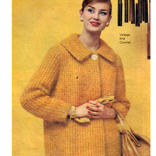 Knitted Mohair Coat Pattern, big collar, knee length